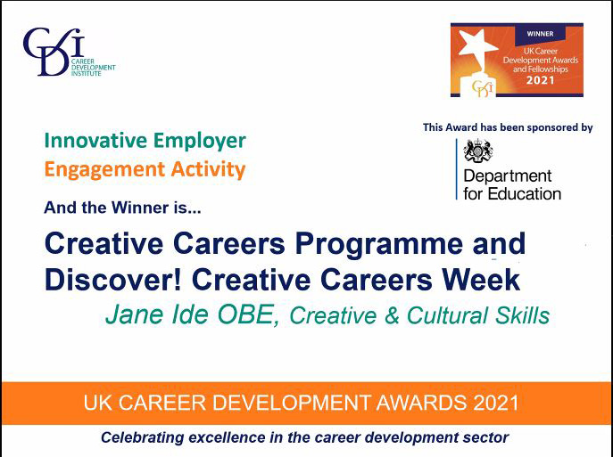 Creative Careers Programme and Discover! Creative Careers Week wins CDI Award